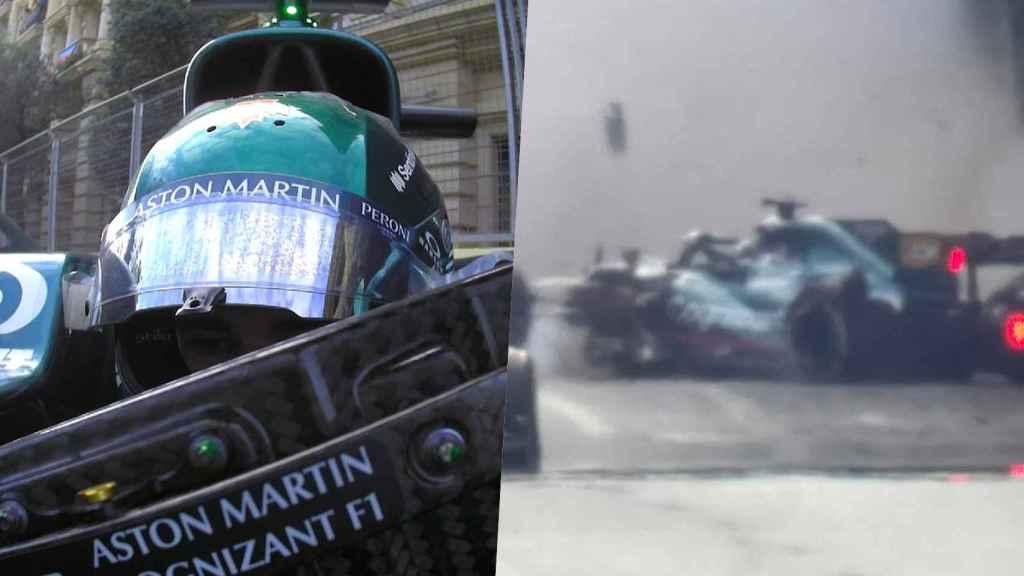 Lance Stroll, durante su accidente en Azerbaiyán