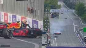 Max Verstappen sufriendo su accidente en Azerbaiyán