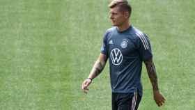 Toni Kroos, en un entrenamiento con la selección de Alemania