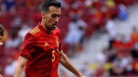 Sergio Busquets, en el partido amistoso de la selección de España ante Portugal