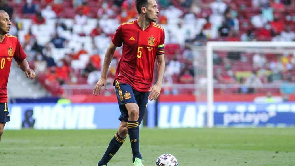 Sergio Busquets, durante el amistoso frente a Portugal