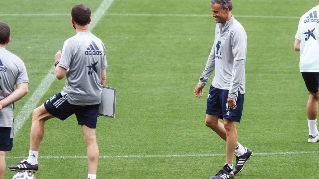 Luis Enrique, durante un entrenamiento