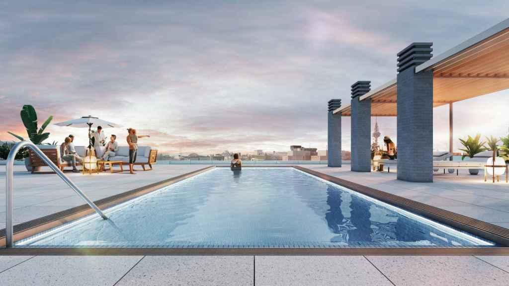Imagen de la piscina proyectada en la promoción 'Alcántara 25'.