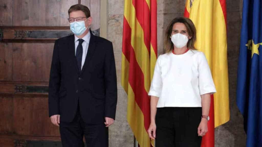 La ministra Teresa Ribera reunida con Ximo Puig hace dos semanas.