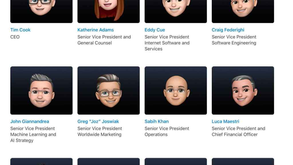 Apple executives in the form of a Memoji