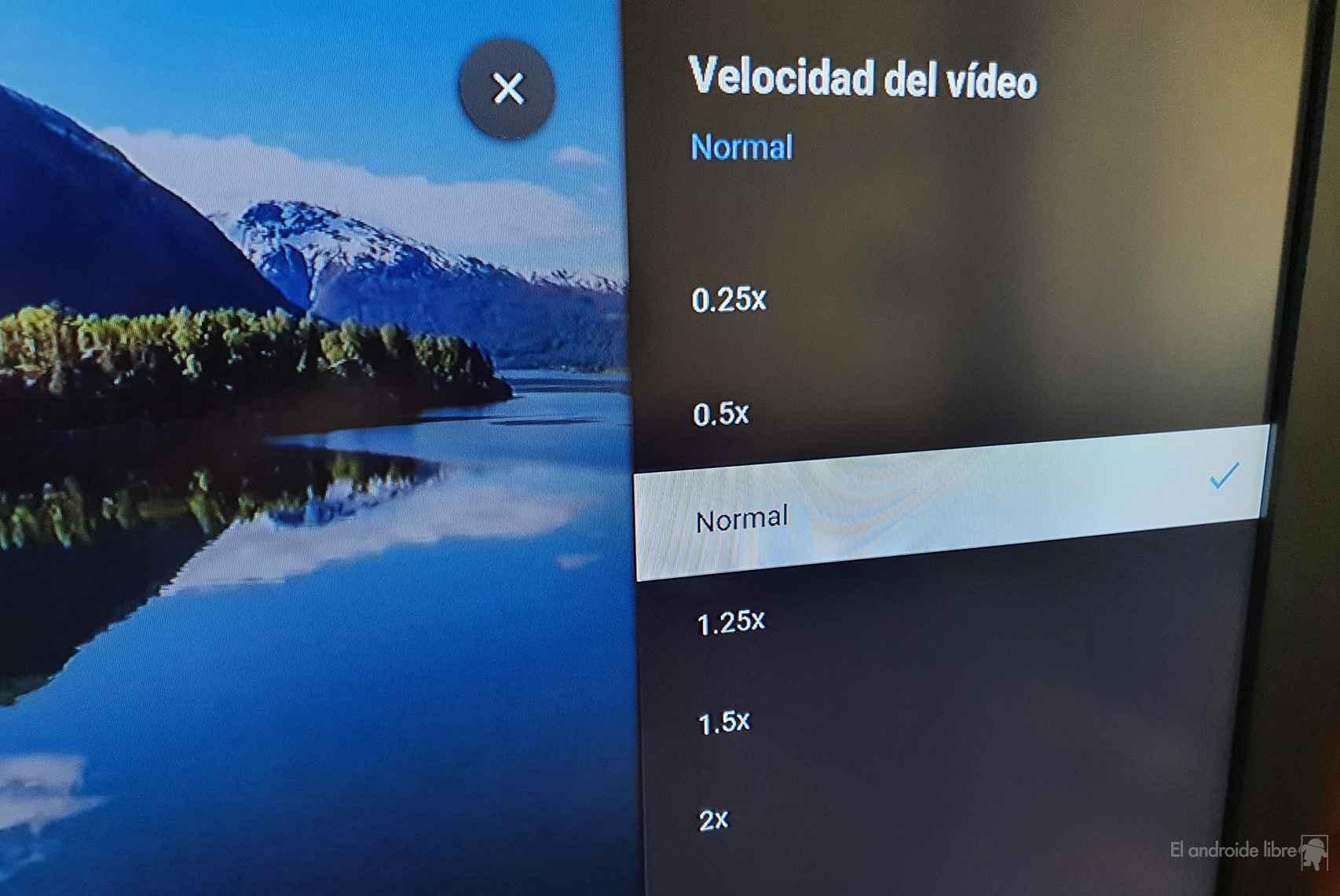 Las velocidades del control en YouTube en Chromecast con Google TV