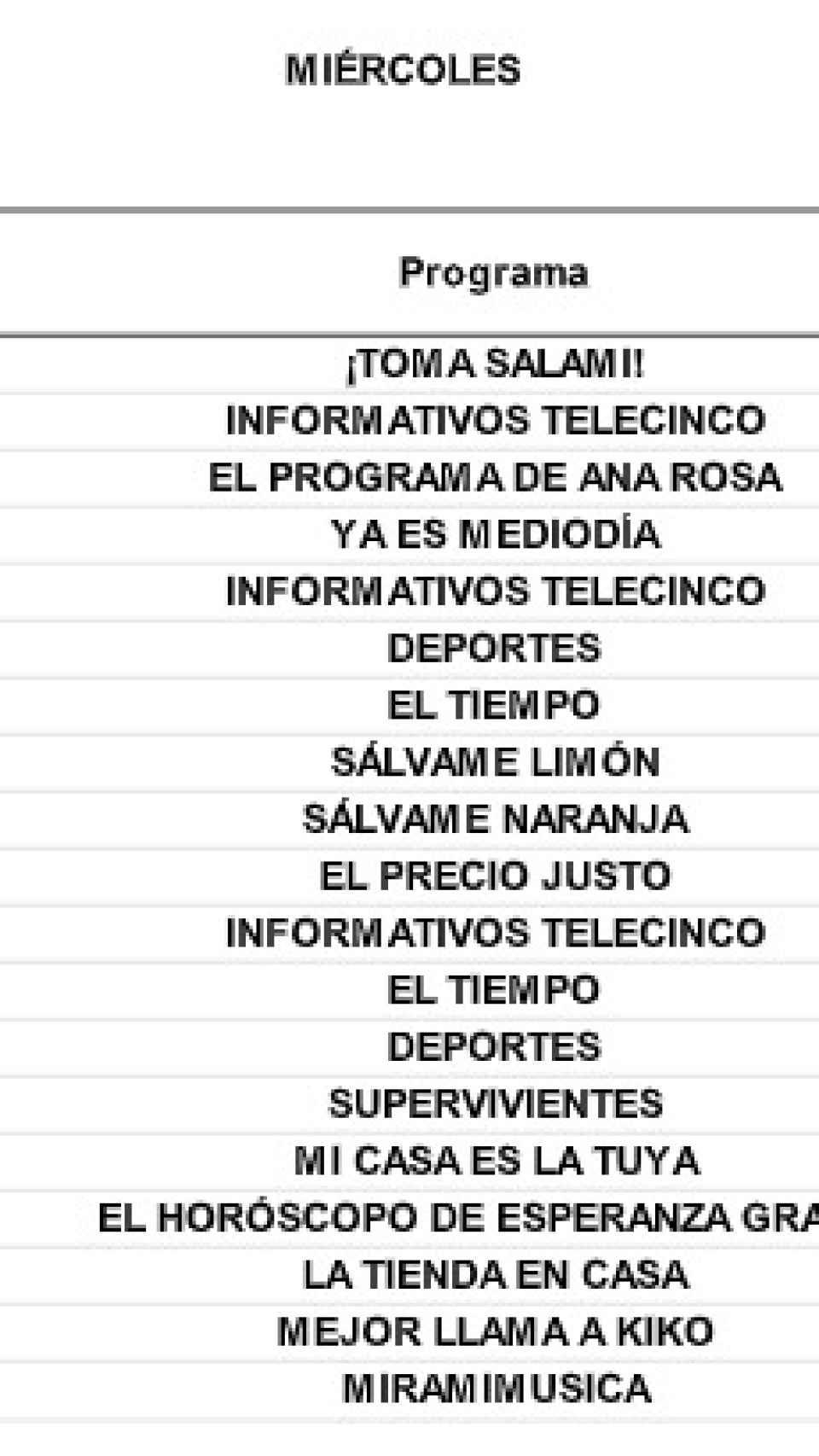 Parrilla de Telecinco del miércoles 9 de junio.