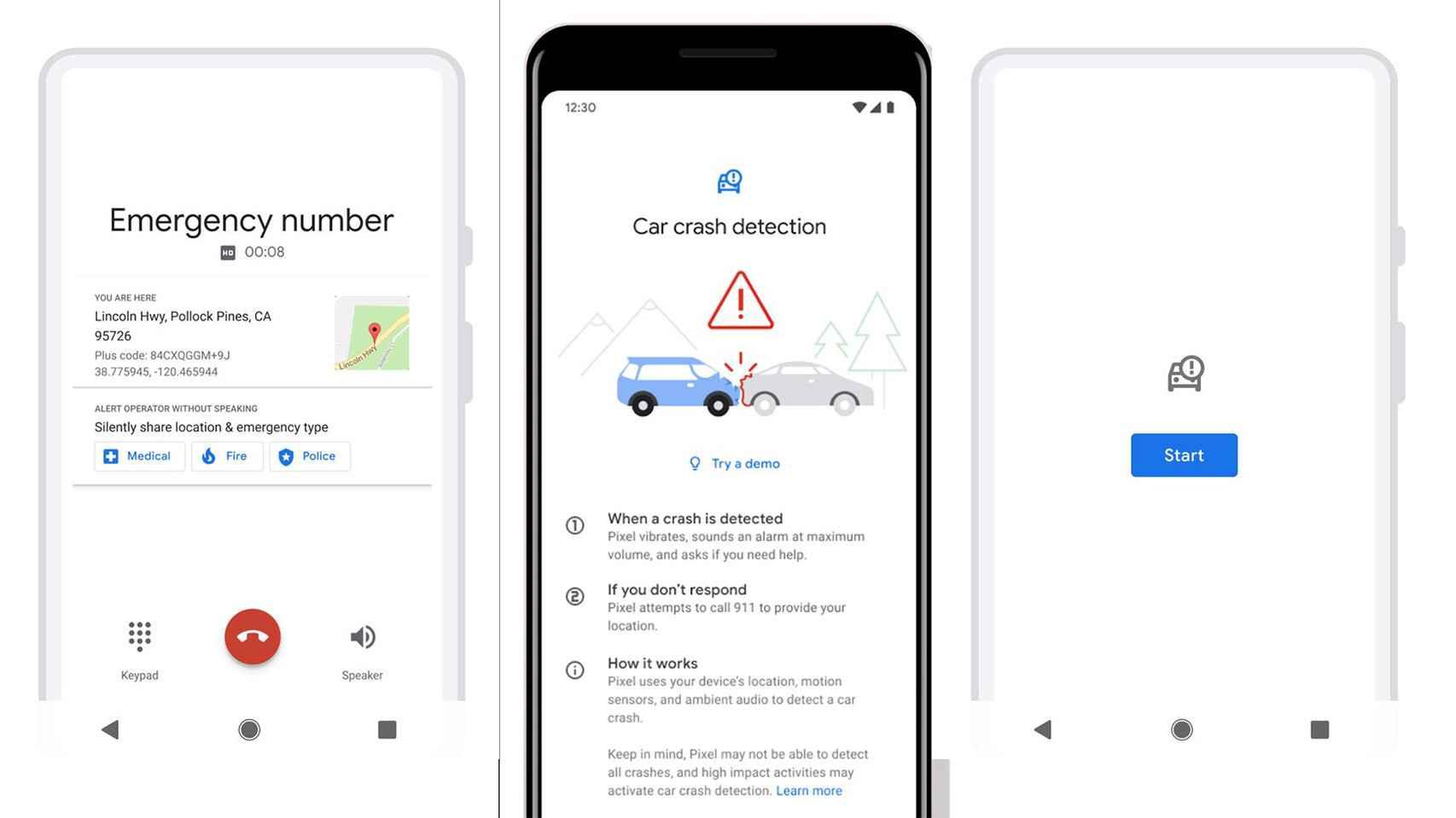 Interfaz de la detección de accidentes en el Google Pixel