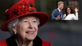 La reina Isabel II en montaje de JALEOS junto a Harry y Meghan Markle.