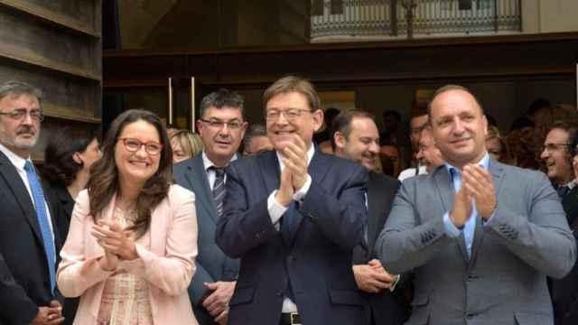 Mónica Oltra (Compromís), Ximo Puig (PSOE) y Rubén Martínez Dalmau (Podemos). EE