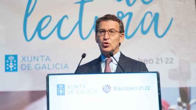 El presidente de la Xunta de Galicia, Alberto Núñez Feijóo, durante una rueda de prensa.
