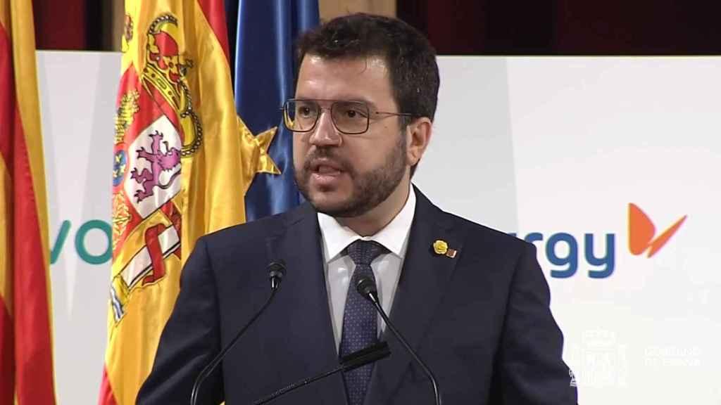 Pere Aragonès, presidente de la Generalitat de Cataluña, en el 250 aniversario de Foment del Treball.