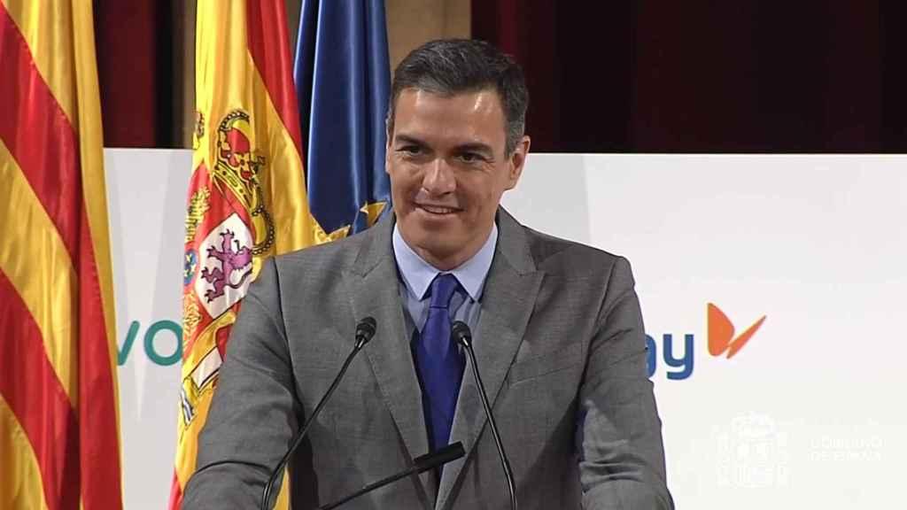 Pedro Sánchez, en el homenaje a Javier Godó durante el 250 aniversario de Foment del Treball, en Barcelona.