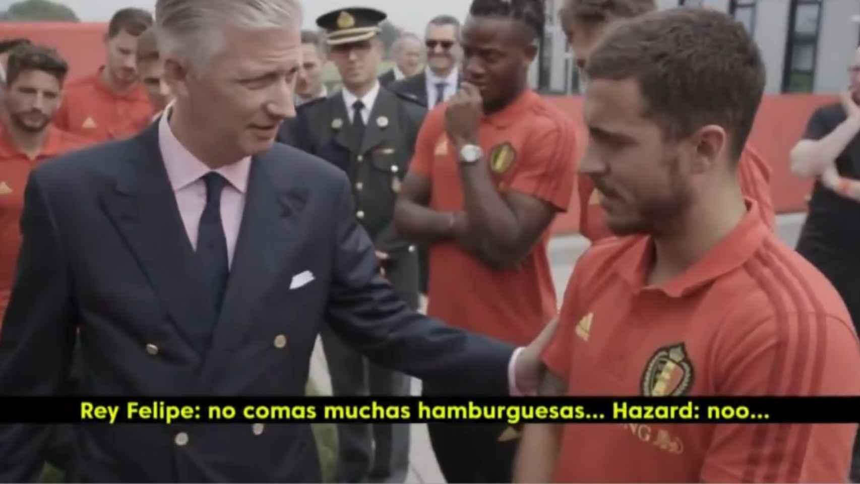 El rey de Bélgica y Hazard