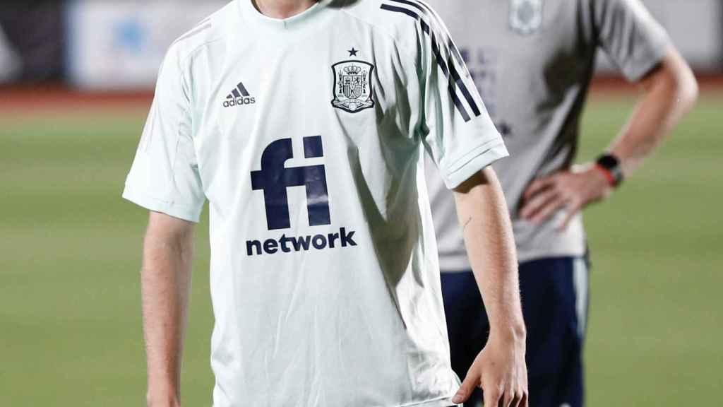 Antonio Blanco, en un entrenamiento con la selección