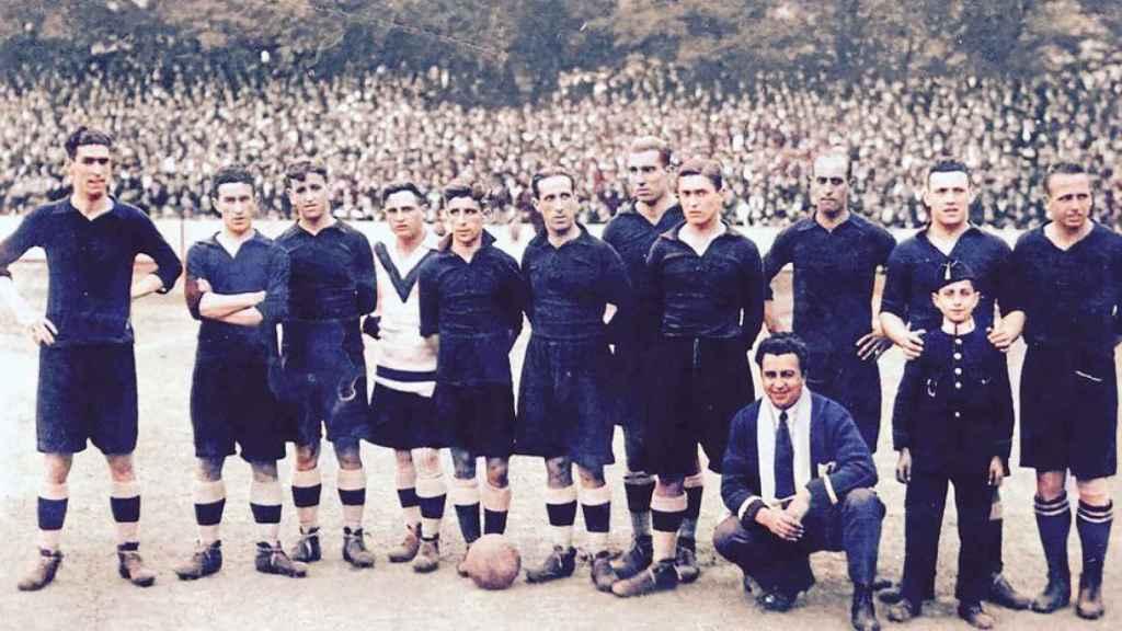Antonio Emery, abuelo de Unai, de blanco con el Real Unión Club de Irun