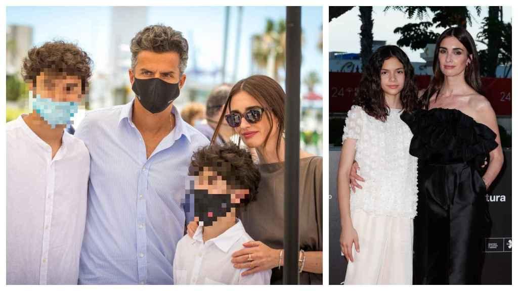 A la izquierda, Orson Salazar y Paz Vega con sus hijos, Orson Jr y Lenon. A la derecha, la actriz con su hija Ava.