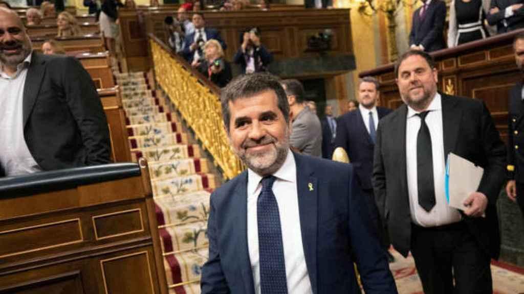 Jordi Sànchez y Oriol Junqueras, juntos en el Congreso de los Diputados, en 2019.