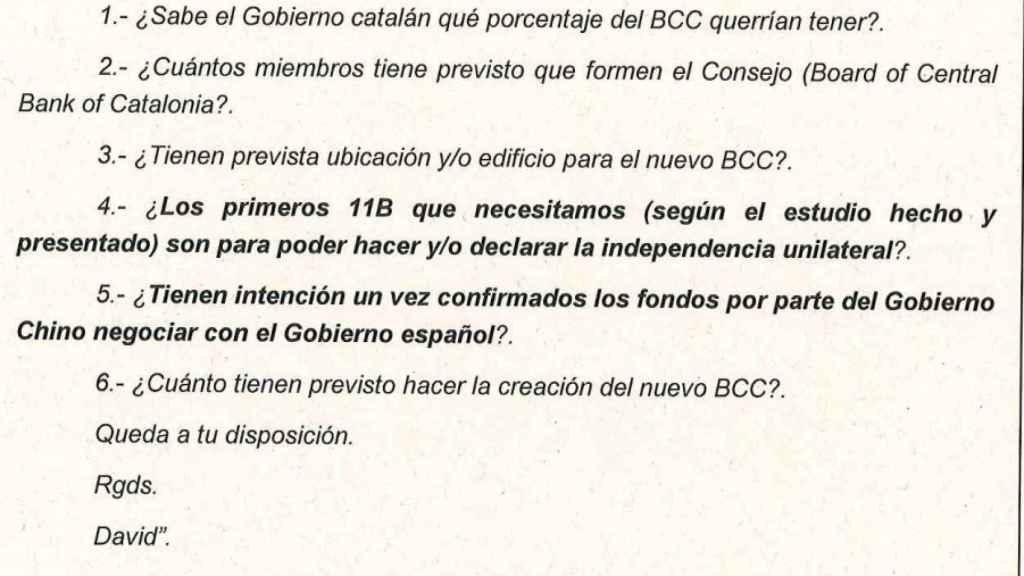 El informe de la Guardia Civil dirigido al Tribunal Supremo recoge las dudas planteadas a la Generalitat por el Gobierno chino.