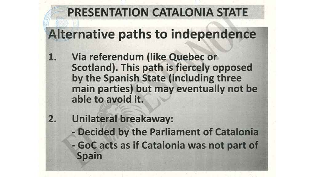 El Power Point elaborado para pedir financiación a China recoge el escenario de la ruptura unilateral con España.