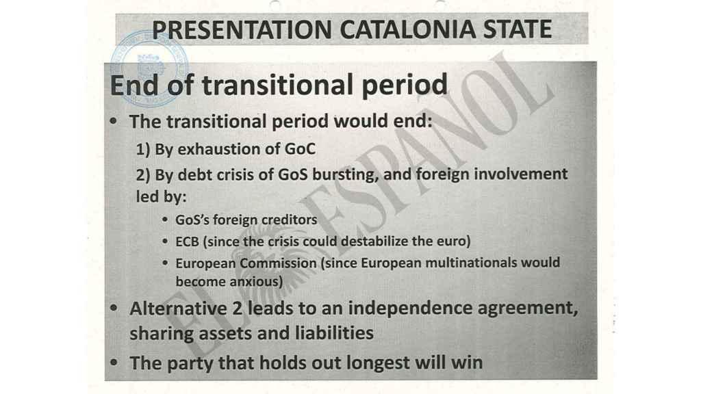 El documento recoge el objetivo de provocar una crisis de deuda para obligar a España a negociar la independencia.