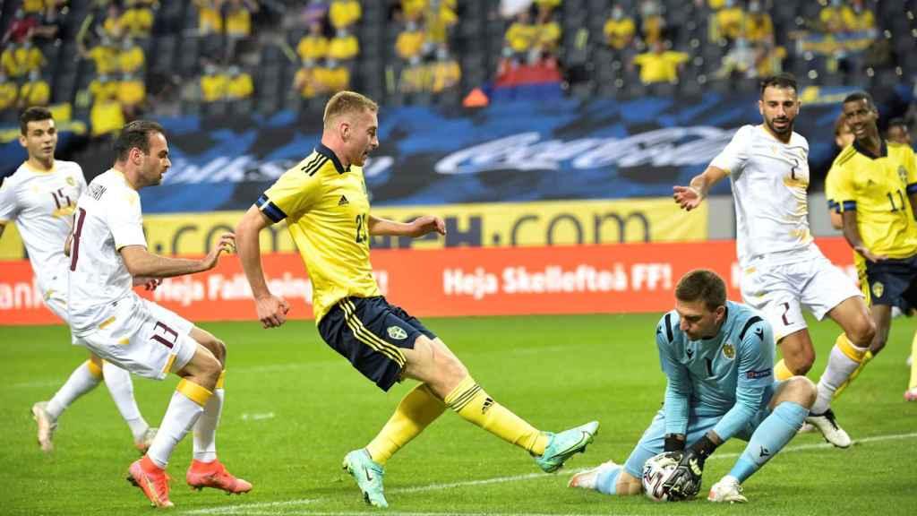 Dejan Kulusevski, durante el amistoso de Suecia contra Armenia