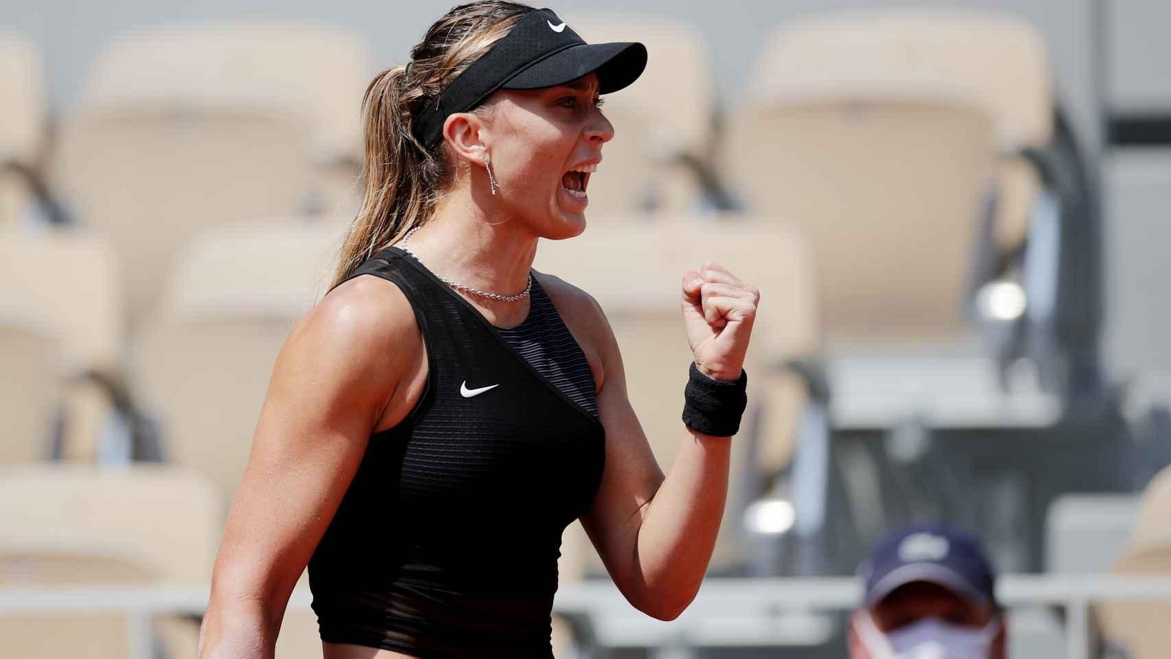 Paula Badosa, durante su partido contra Tamara Zidansek en Roland Garros 2021