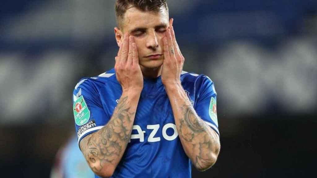 Lucas Digne, con el Everton