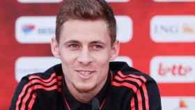 Thorgan Hazard, durante una rueda de prensa con la selección de Bélgica