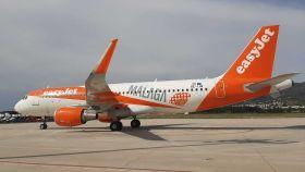 El avión de apertura de la nueva base de Easyjet en Málaga.