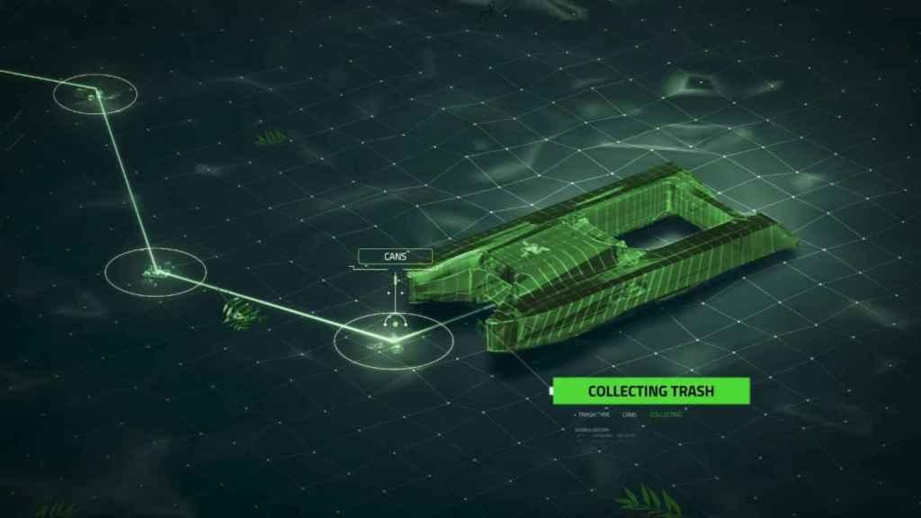 Al detectar basura se reorienta para recogerla.