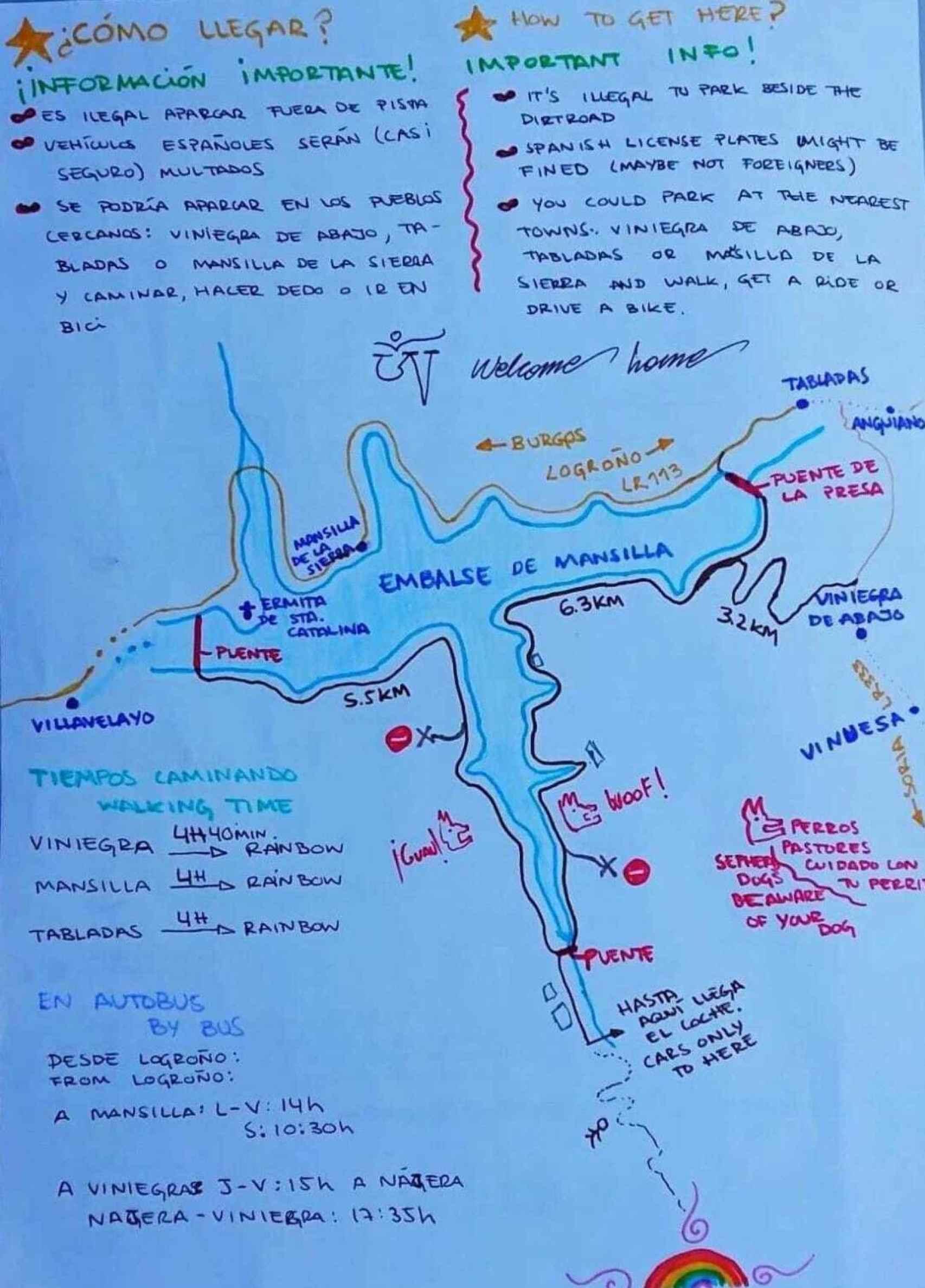 Mapa de la Familia Feliz para acceder al campamento.