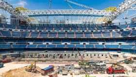 Las obras del Estadio Santiago Bernabéu en el mes de junio de 2021