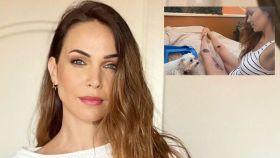 La actriz Nerea Garmendia en un montaje de JALEOS, junto a la imagen que ha compartido con sus seguidores.