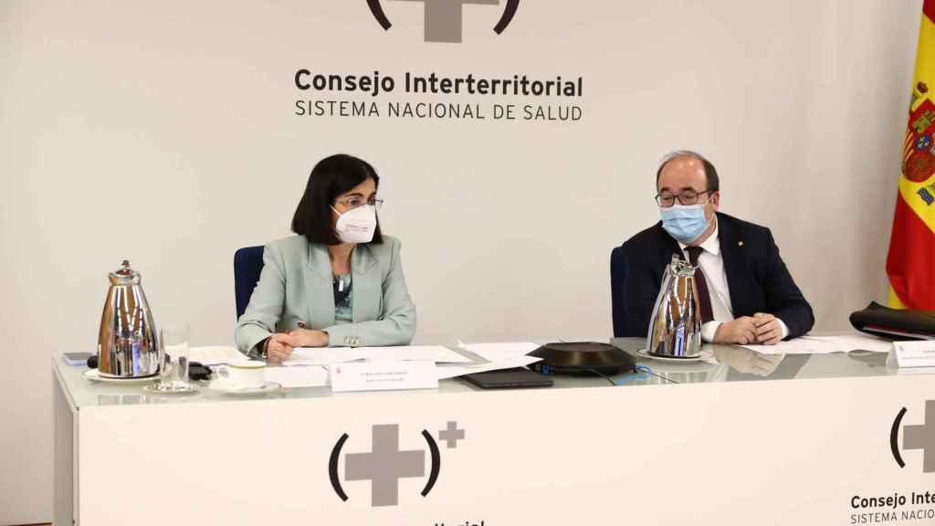 Carolina Darias y Miquel Iceta en el Consejo Interterritorial del Sistema Nacional de Salud en una foto de archivo.