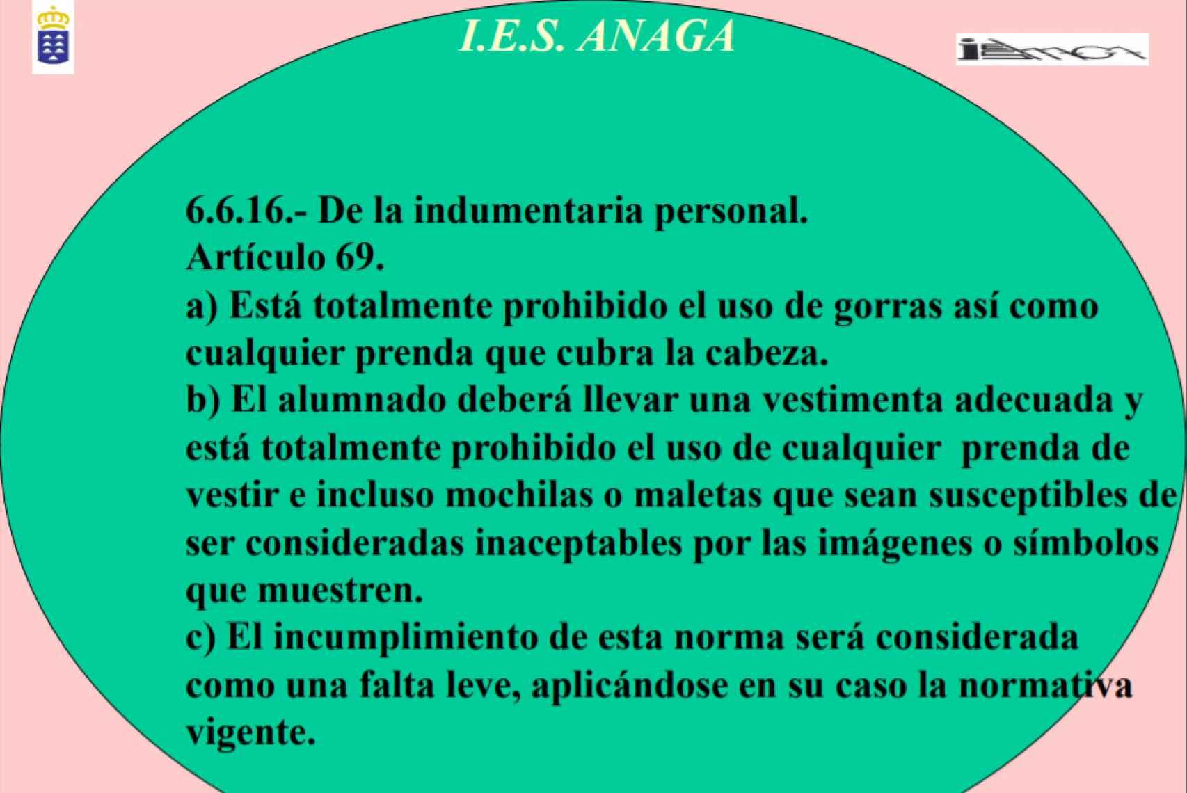 Artículo 69 de la normativa del IES Anaga, antes de ser modificada.