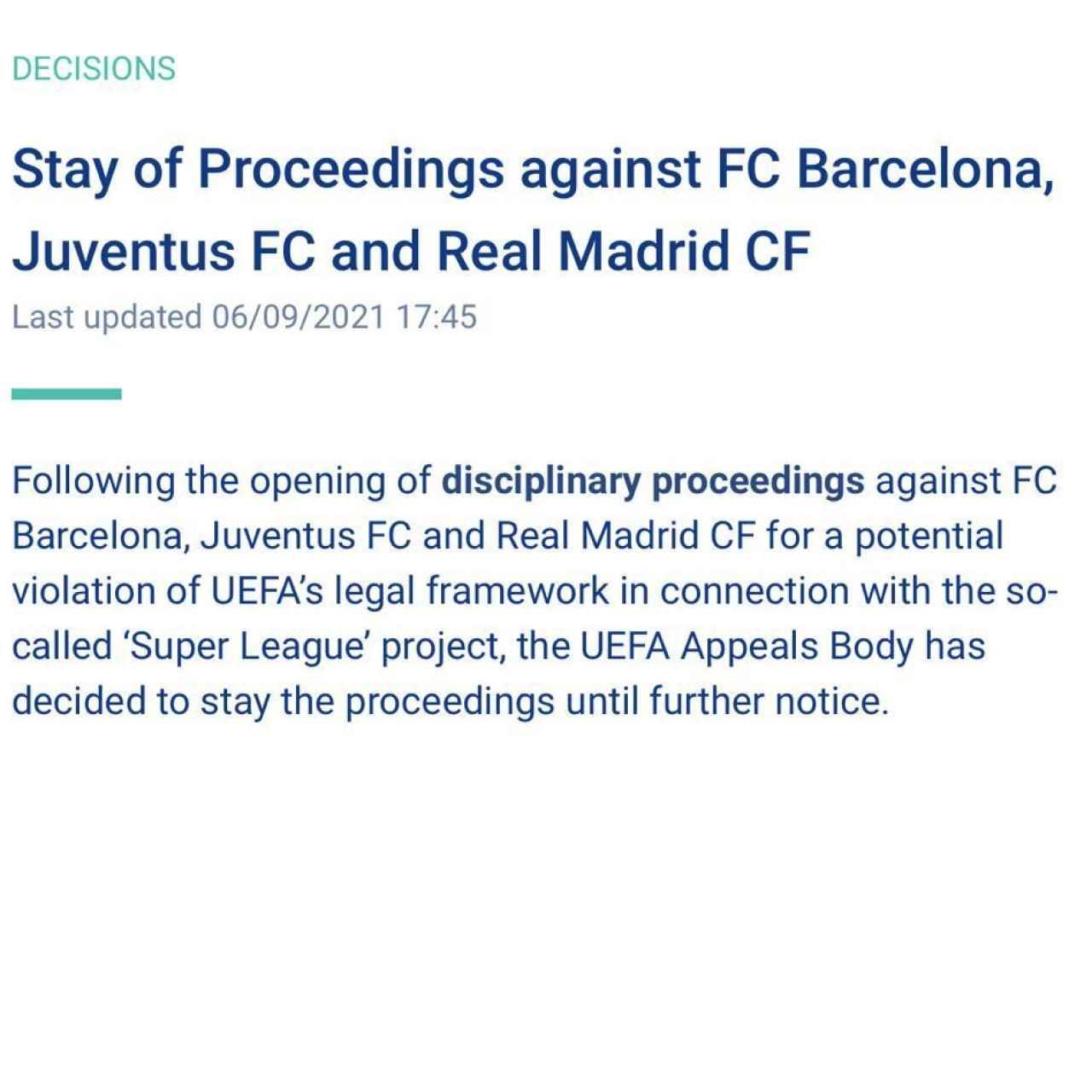 La nota de UEFA anunciando la paralización del expediente sancionador