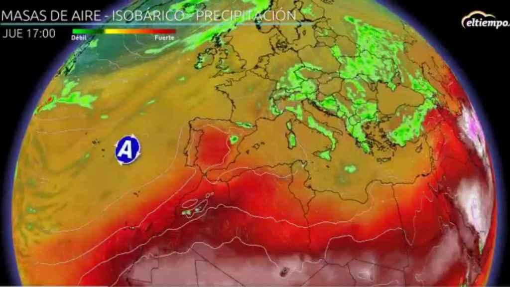 El anticiclón de las Azores y las anomalías de calor en España para el jueves. Eltiempo.es