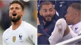 Giroud, Benzema y Mbappé
