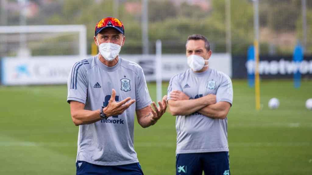 Luis Enrique, durante un entrenamiento de España antes de la Eurocopa
