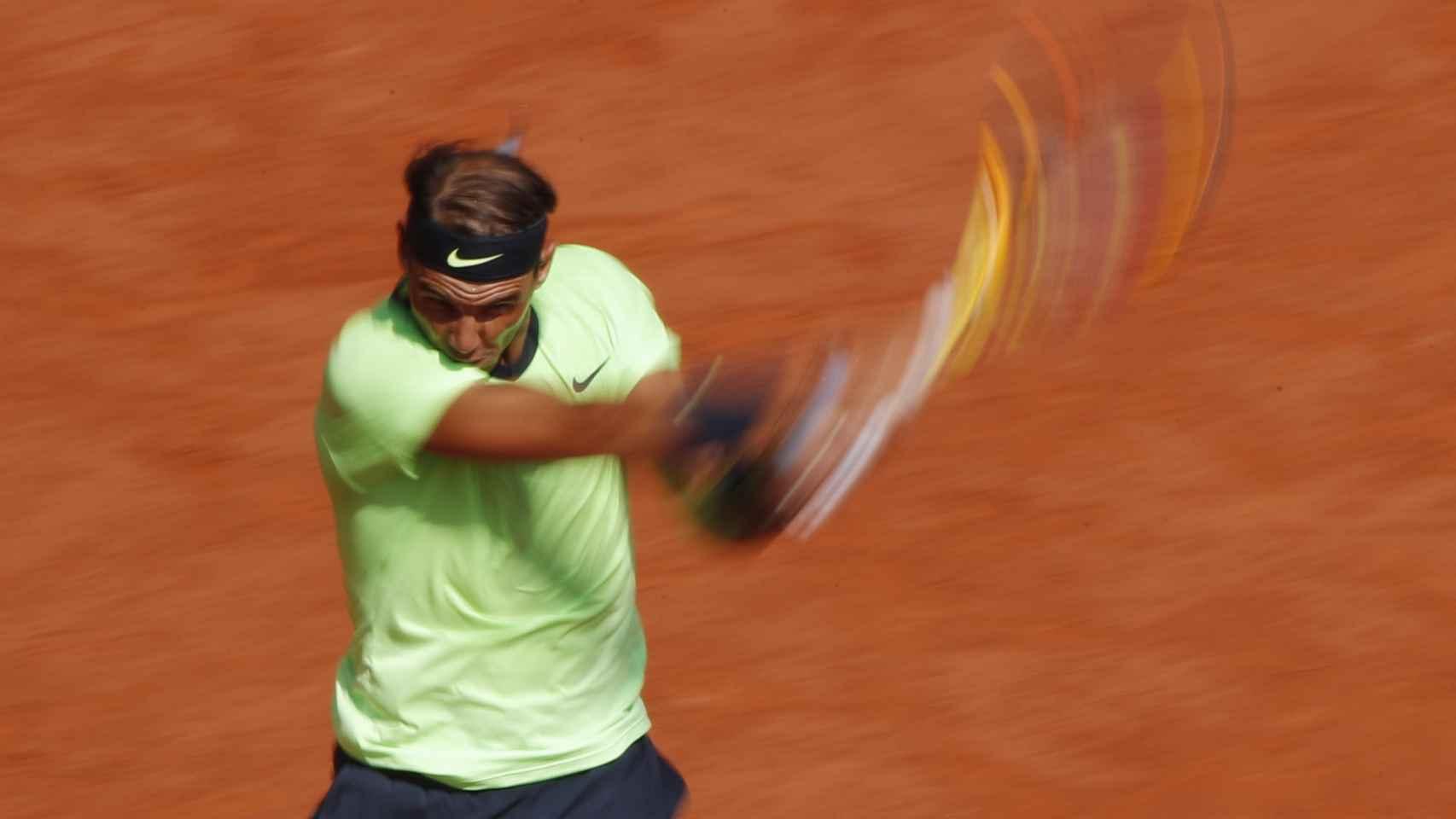 Rafa Nadal, durante su partido ante Diego Schwartzman en Roland Garros 2021