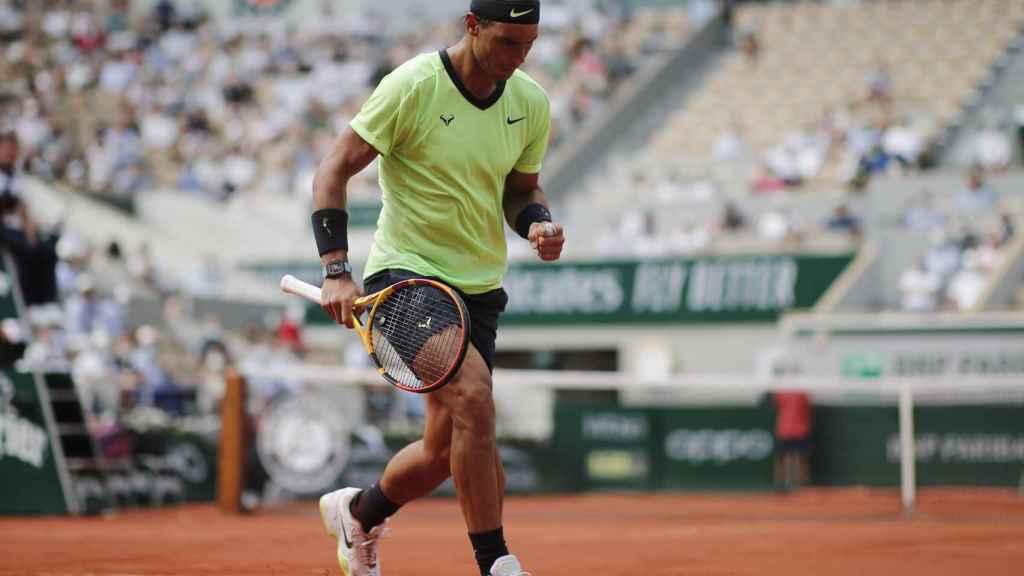 Rafa Nadal, durante el partido ante Diego Schwartzman en Roland Garros 2021