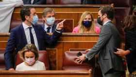Casado, junto a García Egea, Gamarra y otros dirigentes del PP, este miércoles en el Congreso.