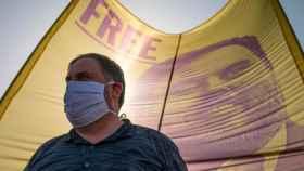 Oriol Junqueras, líder de ERC, en un mitin durante uno de sus permisos para salir de prisión.