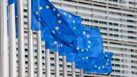 Banderas de la Unión Europea en instalaciones comunitarias en Bruselas.