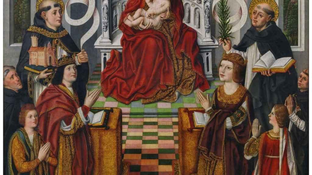 Detalle del cuadro 'La Virgen de los Reyes Católicos', con la infanta Isabel abajo a la derecha.