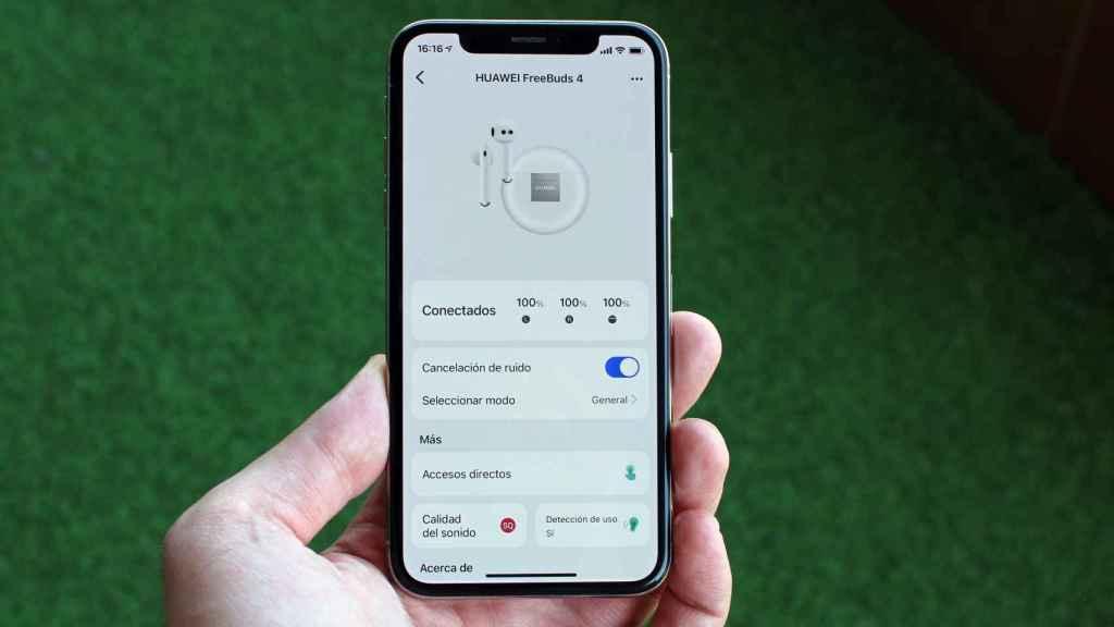 Interfaz de la aplicación para conectar los Huawei FreeBuds 4.