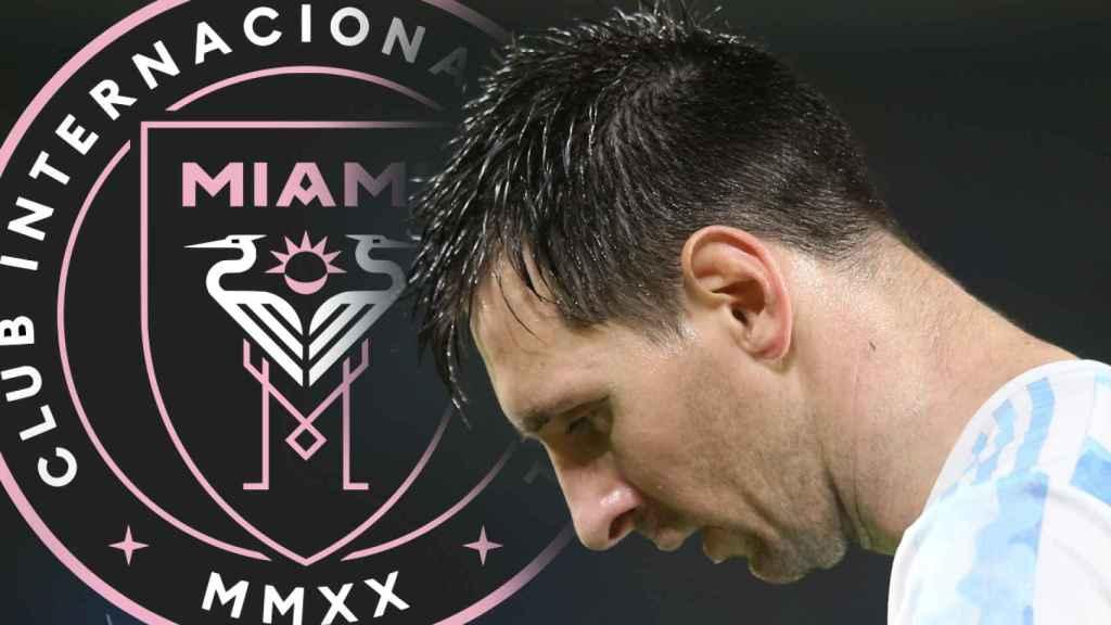 Leo Messi, con la selección de Argentina, en un fotomontaje con el logo del Inter de Miami
