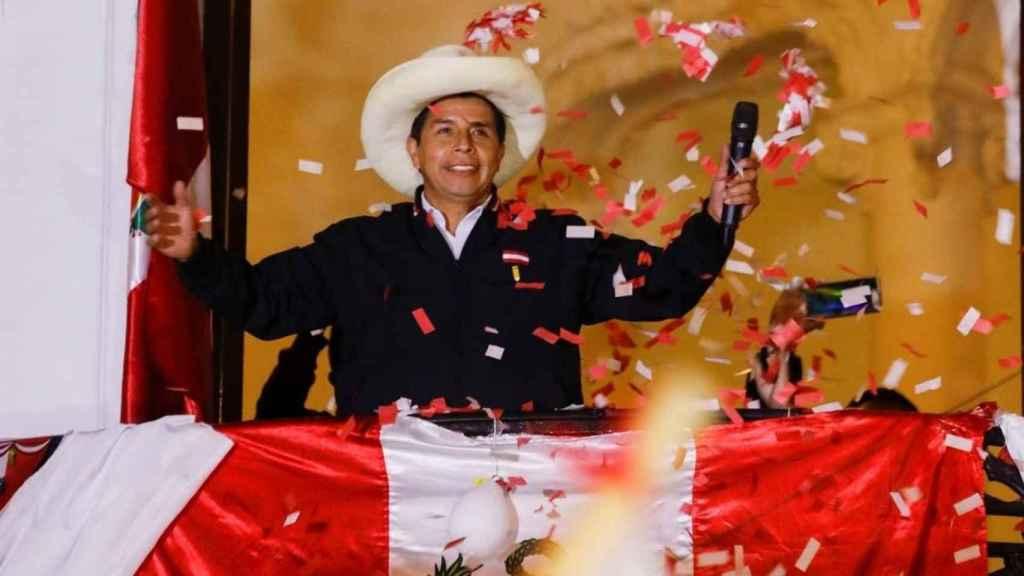 Pedro Castillo, desde la sede de su partido Perú Libre.