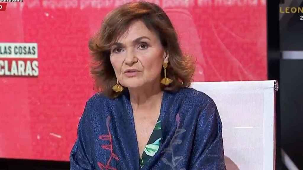 La vicepresidenta primera del Gobierno y ministra de Presidencia,Carmen Calvo, este jueves en TVE.